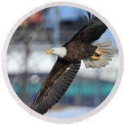 Round Beach Towel featuring the photograph Soaring Eagle by Coby Cooper