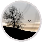 Round Beach Towel featuring the photograph Soaring Eagle by Michael Chatt