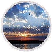 Soaring Sunset Round Beach Towel