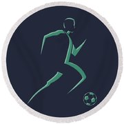 Soccer Player1 Round Beach Towel