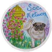 Round Beach Towel featuring the painting Social Networking Pug by Diane Pape