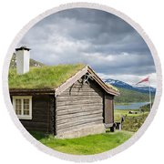 Round Beach Towel featuring the photograph Sod Roof Log Cabin by IPics Photography