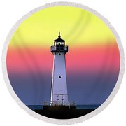 Sodus Outer Lighthouse Round Beach Towel