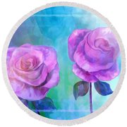 Round Beach Towel featuring the painting Soft And Beautiful Roses by Annie Zeno