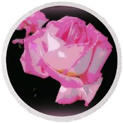 Round Beach Towel featuring the photograph Soft And Delicate Pink Rose by Leanne Seymour