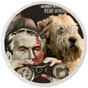 Soft-coated Wheaten Terrier  - Wheaten Terrier Art Canvas Print - Rear Window Movie Poster Round Beach Towel