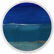 Soft Crashing Waves- Abstract Landscape Round Beach Towel by Linda Woods