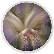 Soft Iris Flower Round Beach Towel