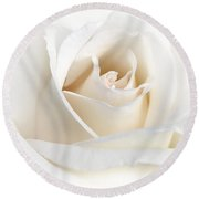 Soft Ivory Rose Flower Round Beach Towel by Jennie Marie Schell