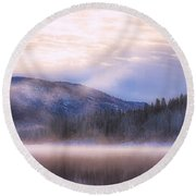 Soft Light Of Winter Round Beach Towel