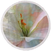 Soft Painted Lily Round Beach Towel by Judy Palkimas