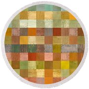Soft Palette Rustic Wood Series Collage L Round Beach Towel