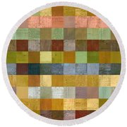 Soft Palette Rustic Wood Series Collage Ll Round Beach Towel