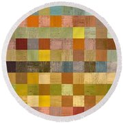 Soft Palette Rustic Wood Series Collage Lll Round Beach Towel