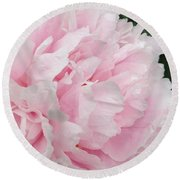 Round Beach Towel featuring the digital art Soft Pink Peony by Jeannie Rhode