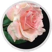 Round Beach Towel featuring the photograph Soft Pink Rose 1 by Jeannie Rhode