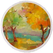 Soft Trees Round Beach Towel
