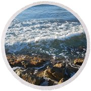 Soft Waves Round Beach Towel by George Katechis