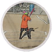 Round Beach Towel featuring the photograph Softball Star by Michael Porchik