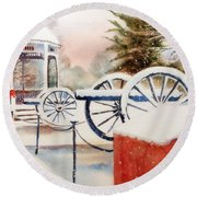 Softly Christmas Snow Round Beach Towel