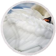 Softly Sleeping Round Beach Towel by Deb Halloran