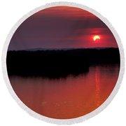 Solar Eclipse Sunset Round Beach Towel by Jason Politte