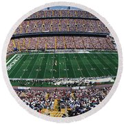Round Beach Towel featuring the photograph Sold Out Crowd At Mile High Stadium by Panoramic Images