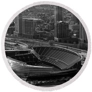 Soldier Field Chicago Sports 05 Black And White Round Beach Towel