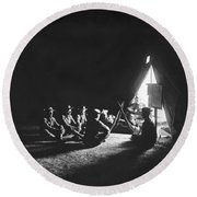 Soldiers At Camp At Night Round Beach Towel