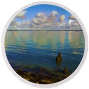 Solent Round Beach Towel by Ron Harpham