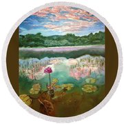 Solitary Bloom Round Beach Towel
