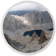 Round Beach Towel featuring the photograph Solitary Hiker Panorama by Alan Socolik
