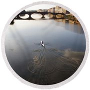 Solitary Sculler Round Beach Towel