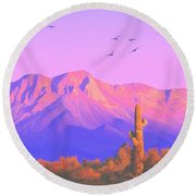 Round Beach Towel featuring the painting Solitary Silent Sentinel by Sophia Schmierer