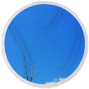 Solitude - Blue Sky Art By Sharon Cummings Round Beach Towel