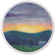 Blue Yellow Nocturne Solitary Landscape Round Beach Towel