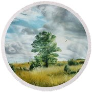 Round Beach Towel featuring the painting Solitude by Sorin Apostolescu