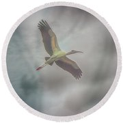 Round Beach Towel featuring the photograph Solo Flight by Dennis Baswell