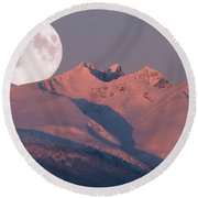 Solstice Sunrise Alpenglow Full Moon Setting Round Beach Towel by Stanza Widen