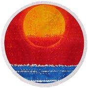Solstice Sunrise Original Painting Sold Round Beach Towel