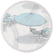 Round Beach Towel featuring the photograph Some Beach        Somewhere by Susan  McMenamin