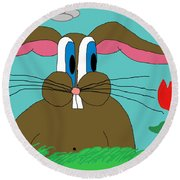 Somebunny Loves You Round Beach Towel