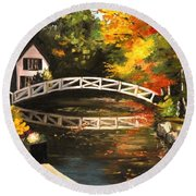 Somesville Maine Footbridge Round Beach Towel by Eileen Patten Oliver