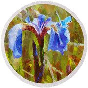 Alaskan Wild Iris And Blue Butterfly Flower Painting Round Beach Towel