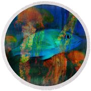Something Fishy Round Beach Towel by Erika Weber