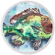 Round Beach Towel featuring the painting Something's Fishy Two by Barbara Jewell