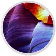 Round Beach Towel featuring the photograph Somewhere In America Series - Blue In Antelope Canyon by Lilia D