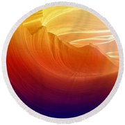 Round Beach Towel featuring the photograph Somewhere In America Series - Colorful Light In Antelope Canyon by Lilia D