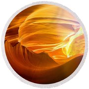 Round Beach Towel featuring the photograph Somewhere In America Series - Gold Colors In Antelope Canyon by Lilia D