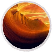 Round Beach Towel featuring the photograph Somewhere In America Series - Golden Yellow Light In Antelope Canyon by Lilia D